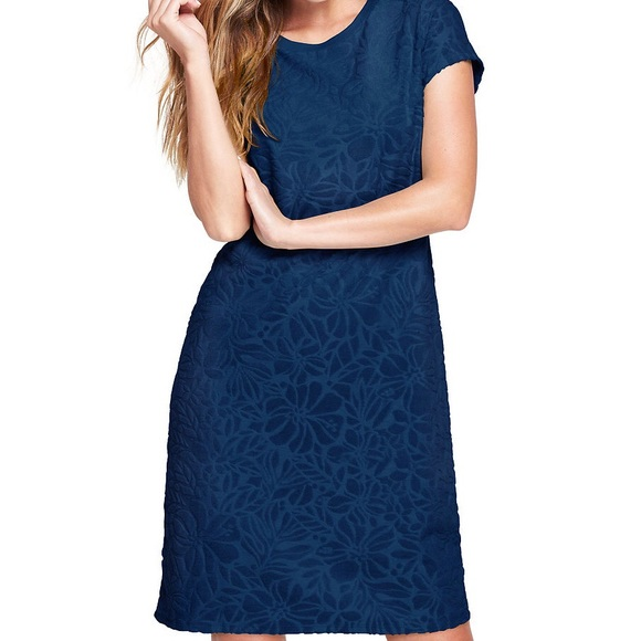 0692aee53adfd LANDS END Jacquard Terry T-shirt Dress Cover-up